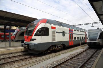 Railway station with high-speed passenger train