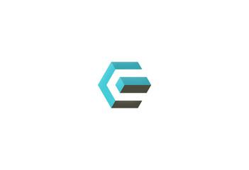 3D polygon shape building logo