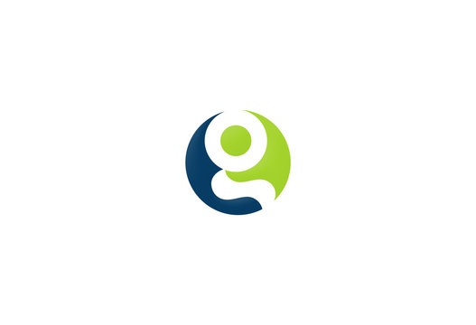 round letter g colored vector logo