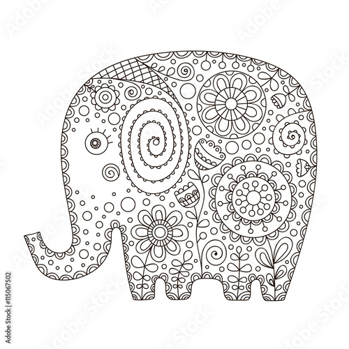 Ornament Summer Design For Kids Isolated Coloring Page