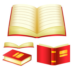 Detailed Red Books Vector Pack