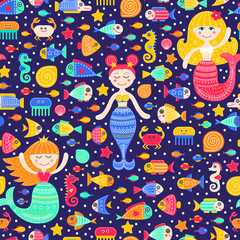 Vector seamless pattern with cartoon sea inhabitants. Flat mermaid girls, fish, crab, seahorse, seastar, shell, jellyfish and bubbles. Cute fantasy background for kids. Bright colors.