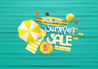 summer sale background, with painted wooden floor, and beach products.
