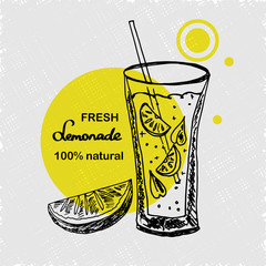 Hand drawn poster with lemonade. Lemonade lettering. A glass of lemonade with straw, mint and slice of lemons. Sketch style. Vector illustartion.