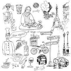 Hand drawn vector sketch. Ink illustration. Paris elements.