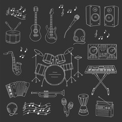 Music icon set vector illustrations hand drawn doodle. Musical instruments and symbols guitar, drum set, synthesizer, dj mixer, stereo, microphone, trumpet, accordion, radio, saxophone, headphones.