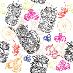 pattern jars and fruits