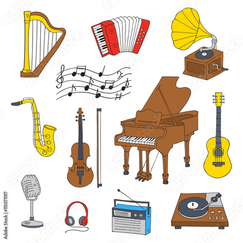Music Icon Set Vector Illustrations Hand Drawn Doodle Musical