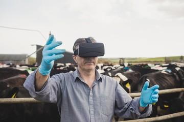 Farm worker wearing virtual reality simulator