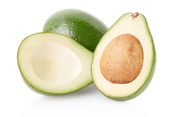 Avocado fruits and half isolated on white, clipping path