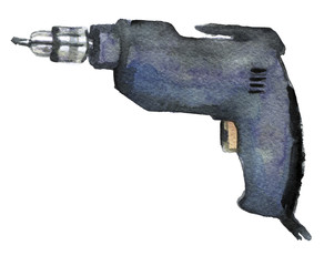 watercolor sketch of drill on a white background
