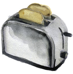 watercolor sketch of toaster on a white background