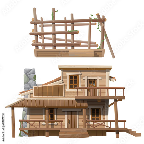 Two Storey Wooden Cottage With Chimney Immagini E