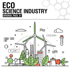 Modern eco science industry. Thin line icons set