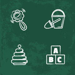 chalk icons set. Isolated vector chalkboard drawings