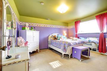 Girls children purple and green bedroom with mirror
