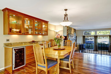 Traditional dinning room with hardwood floor, in beautiful home.