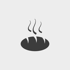 Bread icon in a flat design in black color. Vector illustration eps10