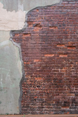 Antique Red Brick Wall with Grout Skim on Left