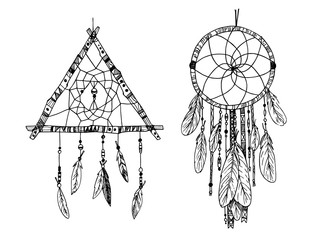 Hand drawn illustration - Dream catcher. Tribal design element.
