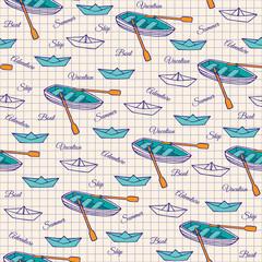 Seamless pattern of boats