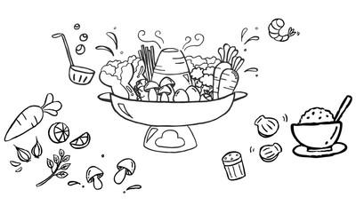 Sukiyaki hot pot with vegetables and rice