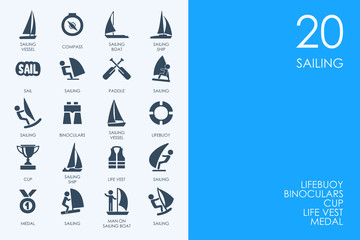 Set of BLUE HAMSTER Library sailing icons