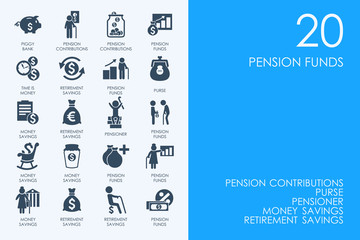 Set of BLUE HAMSTER Library pension funds icons