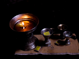 Oil lamp with fire and matchboxes