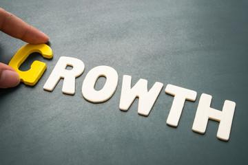 Growth wording on blackboard