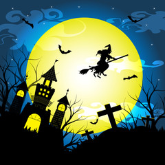 Halloween night with silhouette dry tree, old witch, castle, graves and bats vector illustration background