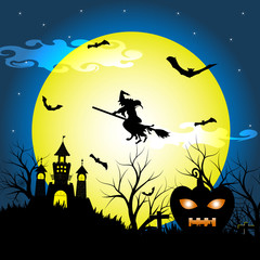 Halloween night with silhouette dry tree, old witch, castle, pumpkin and bats vector illustration background