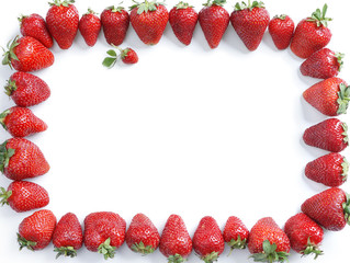 Frame of strawberry isolated on white background. Top view, High resolution product.