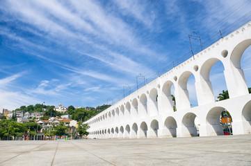 Landmark white arches of Arcos da Lapa in Centro of Rio de Janeiro, Brazil
