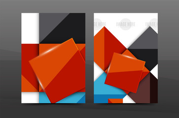 A4 flyer or annual report layout geometric shape design