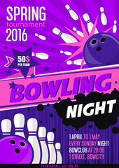 Bowling Tournament Poster Template. Design with Bowling Ball