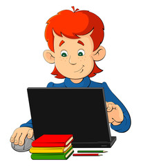 Cartoon boy sitting at a table with a laptop.