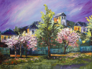 Art Oil-Painting Picture Blooming Trees in the Village with Purple Sky