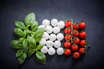 Italian flag made of fresh food