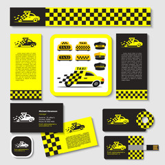 Taxi. Set of emblems. Elements of corporate style. Business card