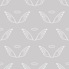 Angel wings gray sketch pattern
