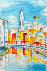 Church of Sant Feliu, colorful yellow and orange houses and bridge Pont de Sant Agusti reflected in water river Onyar, in Girona, Catalonia, Spain. Picture made markers