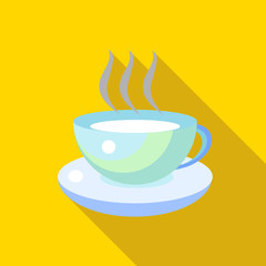 Cup of tea icon in flat style with long shadow. Tableware and drinks symbol
