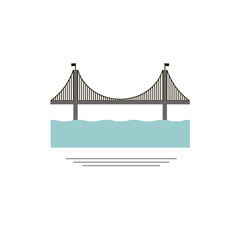 The Brooklyn Bridge. icon, symbol, emblem. vector illustration.