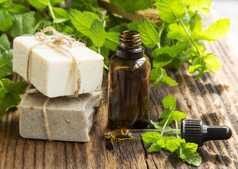 Natural mint spa with handmade soap, mint oil and leaves