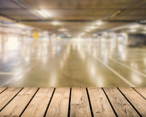 wooden floor with car park background