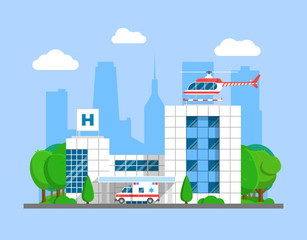 Medical center building with ambulance and helicopter. Flat city hospital and emergency transport vector illustration