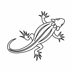 Lizard icon in outline style isolated vector illustration. Reptiles symbol