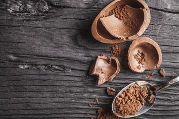 Chocolate on desk.