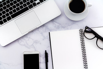Creative flat lay photo of workspace desk with laptop